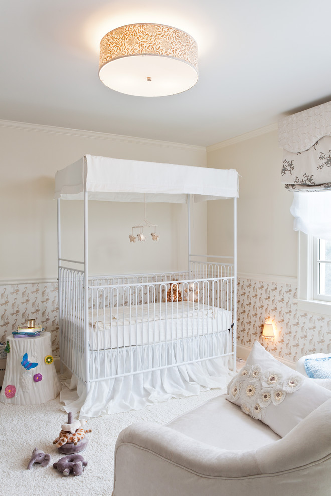 Iron Crib in Traditional Kids Bedroom