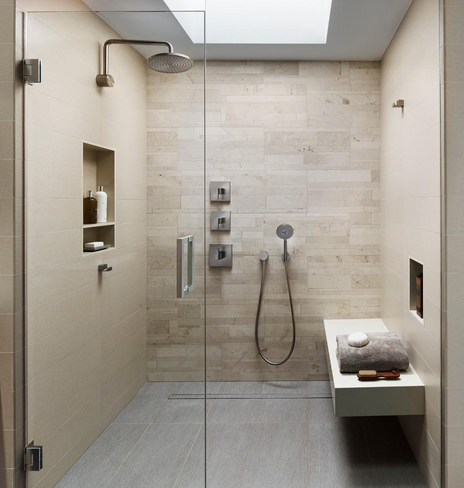 Modern Bathroom Design With Beige Tile