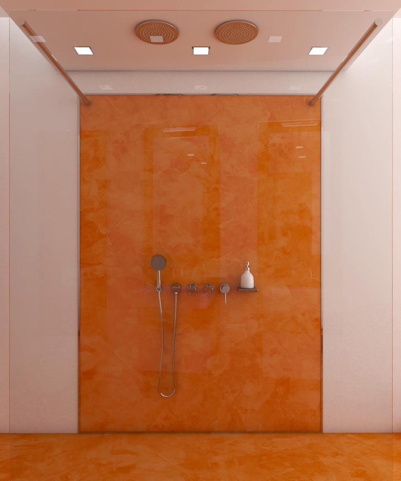 Modern Bathroom Design With Orange Floors