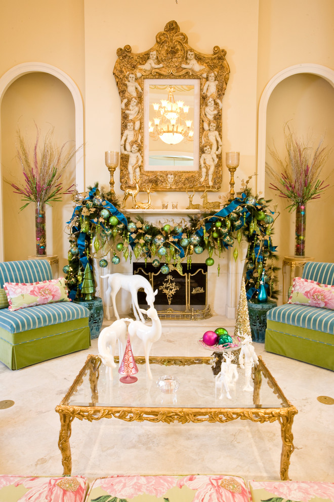 Mediterranean Living Room Christmas Decoration Ideas