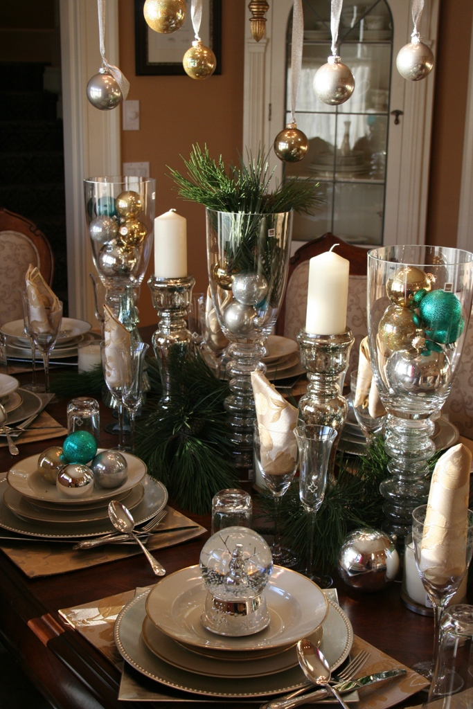 Blue and Silver Christmas Table Decor