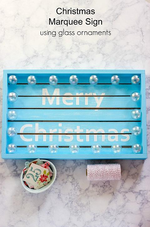Christmas Marquee Sign Using Glass Ornaments