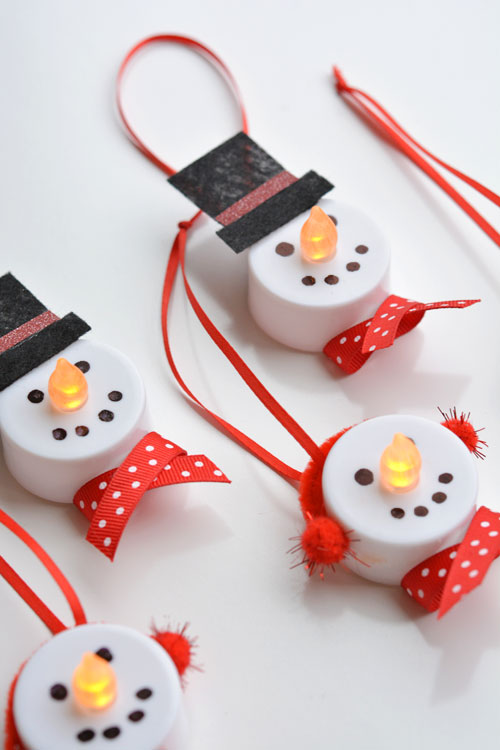 DIY Tealight Snowmen Christmas Ornaments