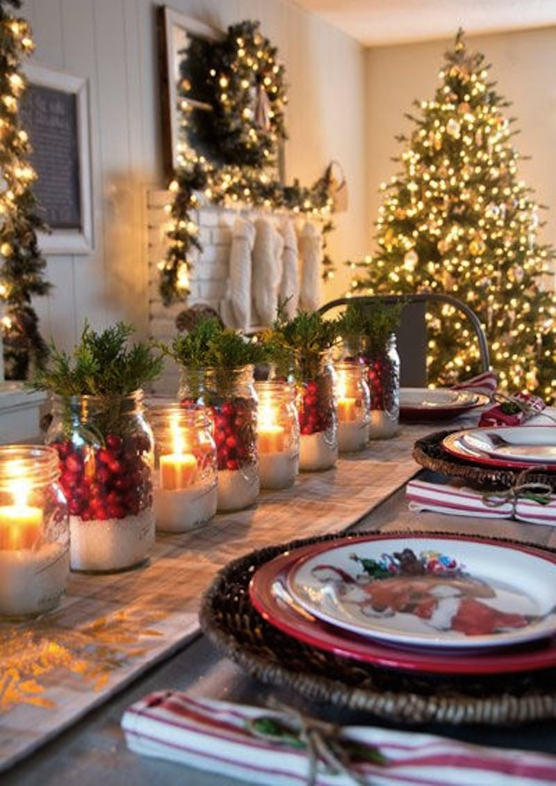 Mason Jar Christmas Table Decorations