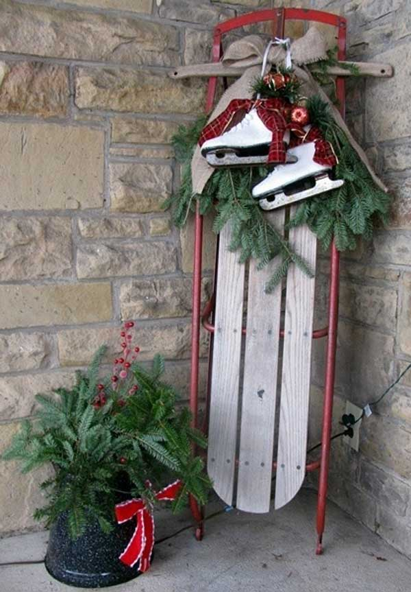 Christmas Sled Decoration Front Porch
