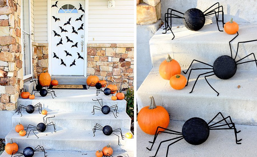 DIY Spider Porch Decoration