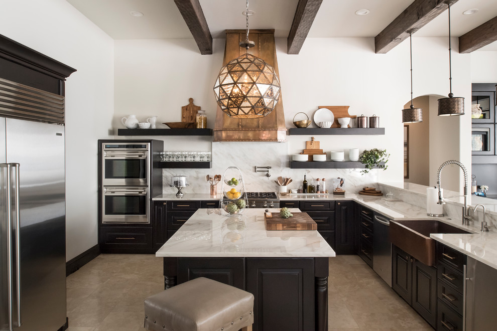 Mediterranean Style U shaped Kitchen