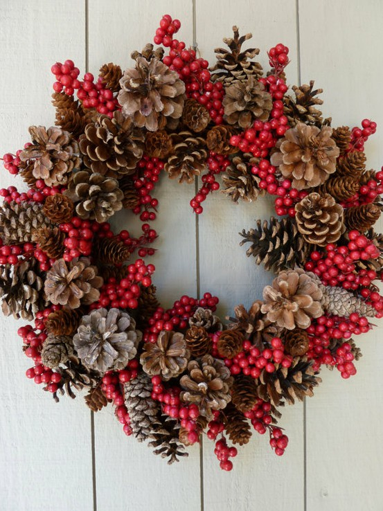 Pine Cone Crafts Christmas Wreath Ideas