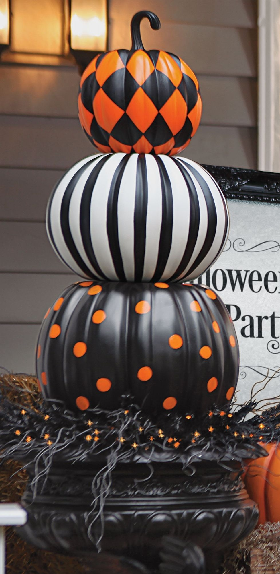Plastic Pumpkins Porch Decoration