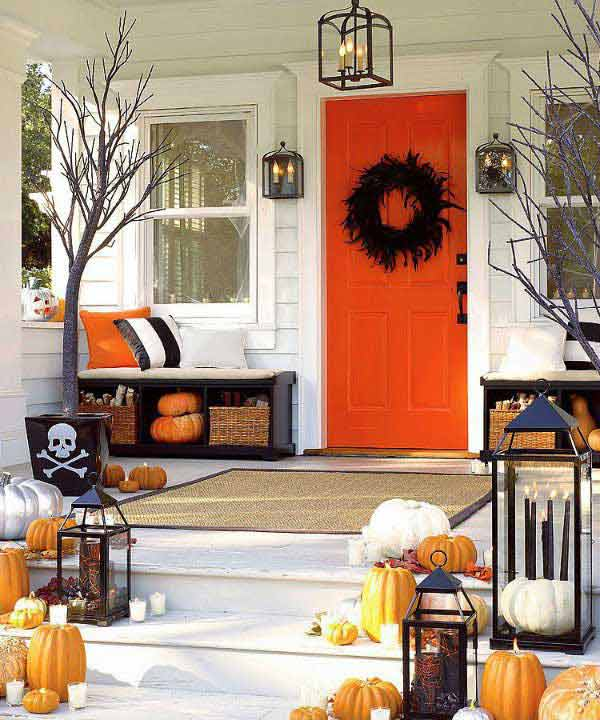 Pumpkins And Candles Porch Decoration