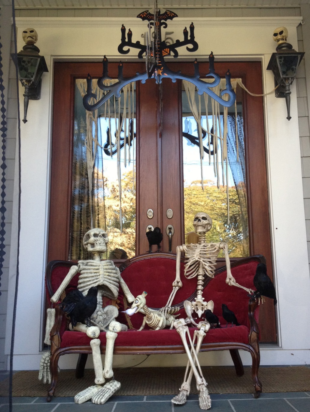Skeleton Halloween Decoration Front Porch