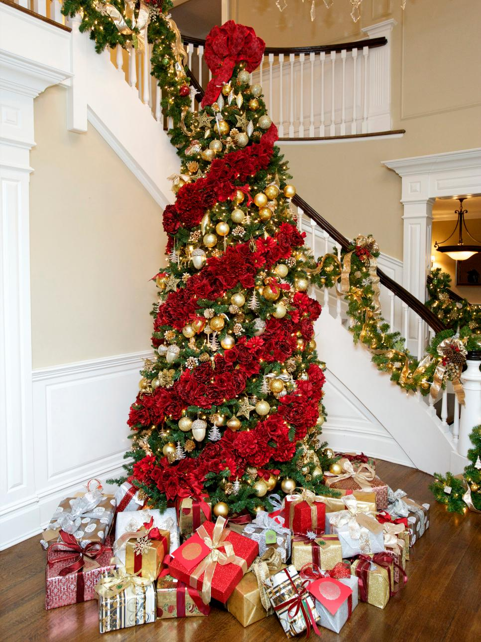 Blooming Christmas Tree Decorated With Flowers
