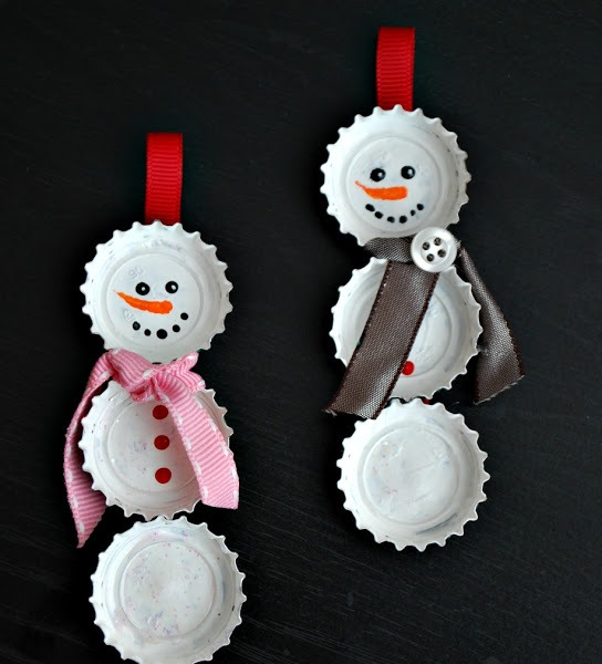 Bottle Cap Snowman Ornaments Thewowdecor