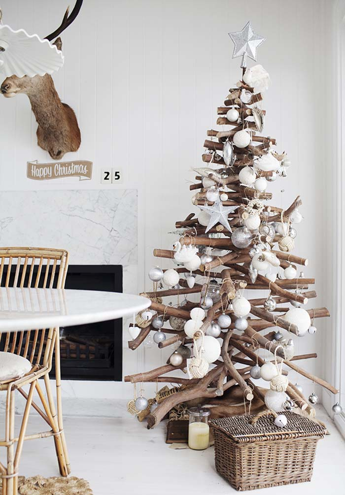 Christmas Tree of Stacked Branches Thewowdecor