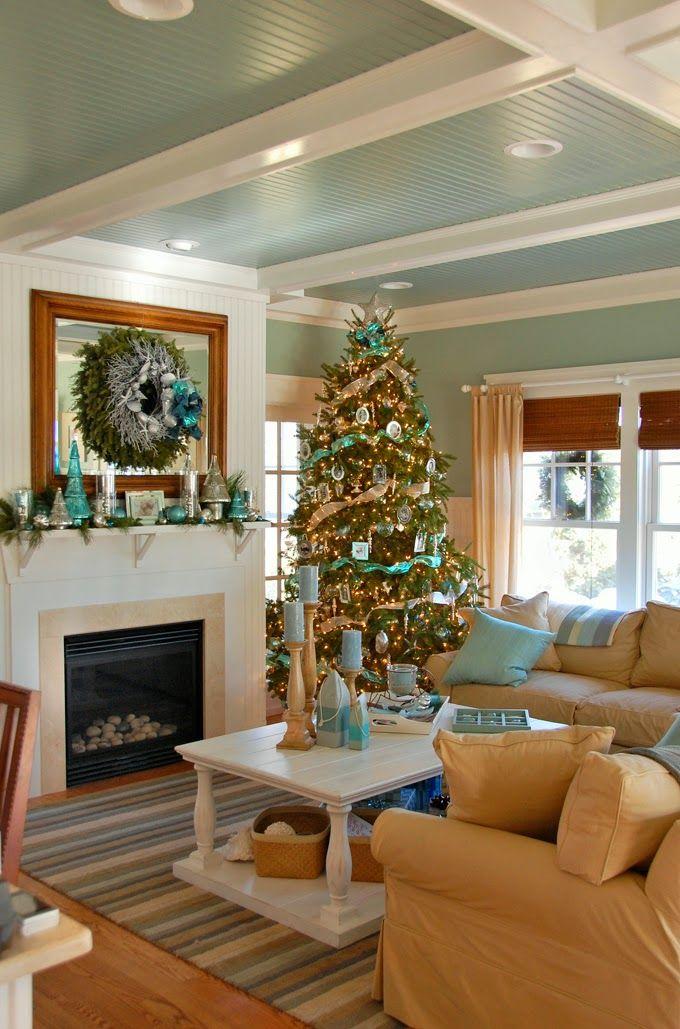 Coastal Living Room at Christmas