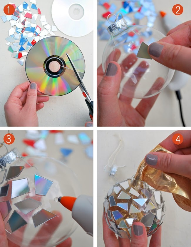 DIY Christmas Ornaments from Broken CD Thewowdecor
