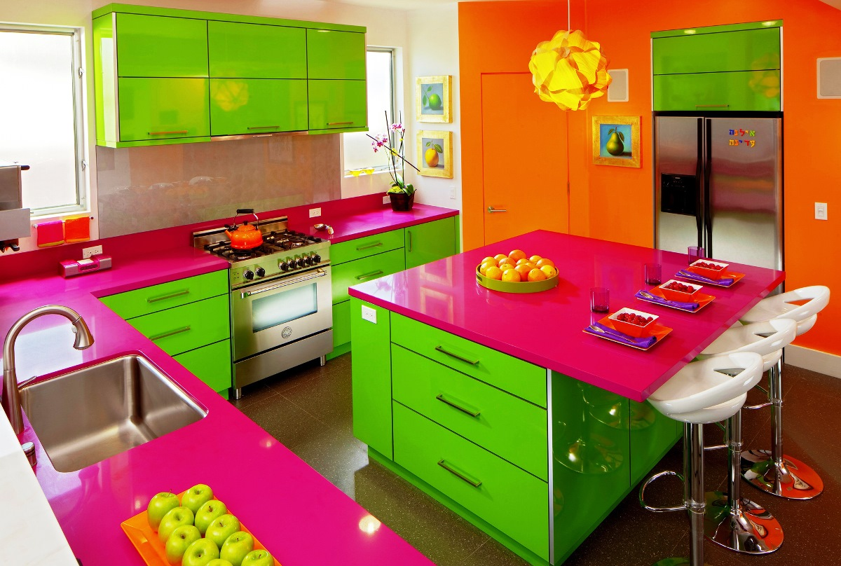 Fascinating Bright Color Kitchen