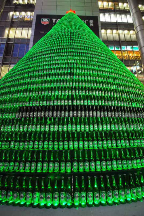 Heineken Beer Bottles Christmas Tree THewowdecor
