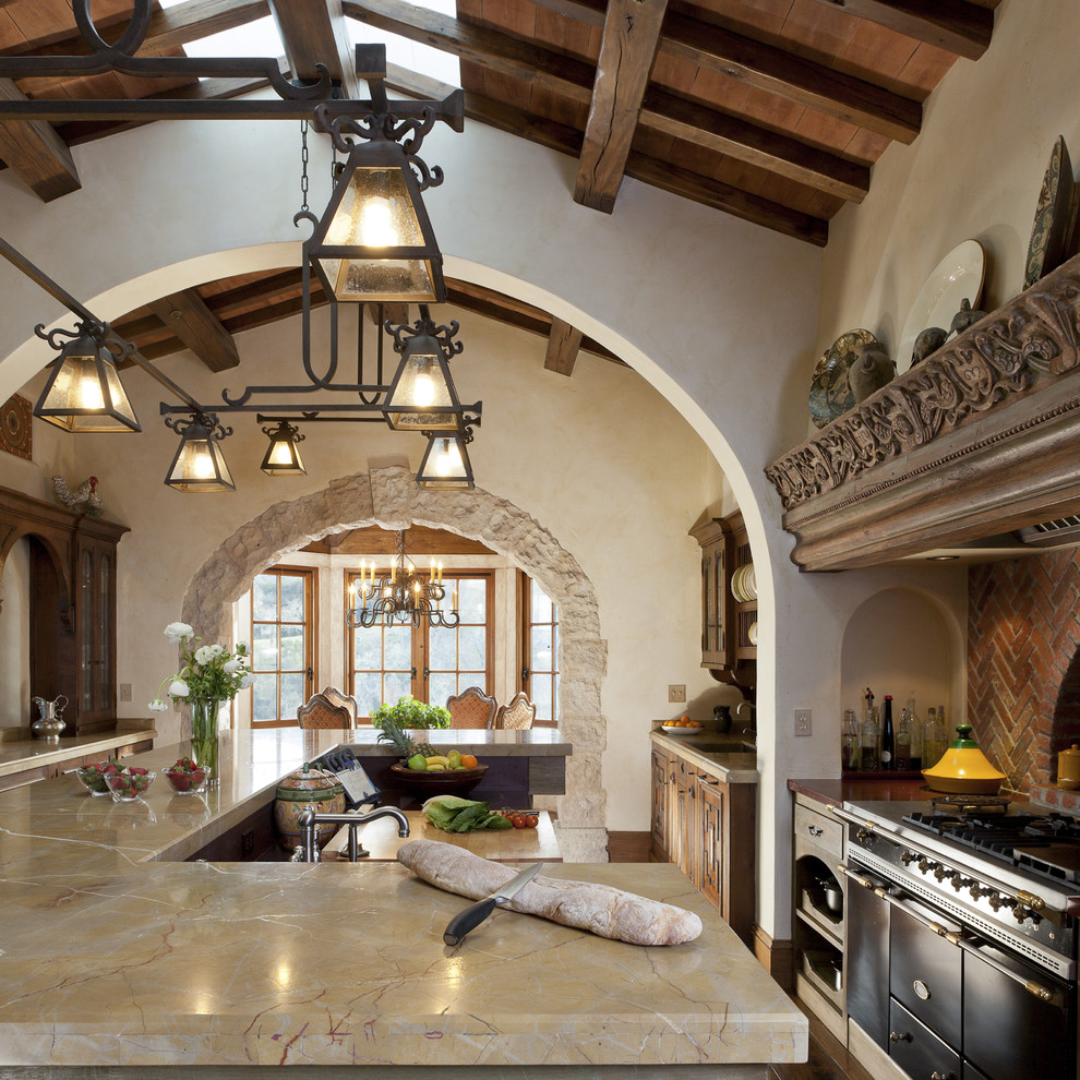 Mediterranean Kitchen With Large Island