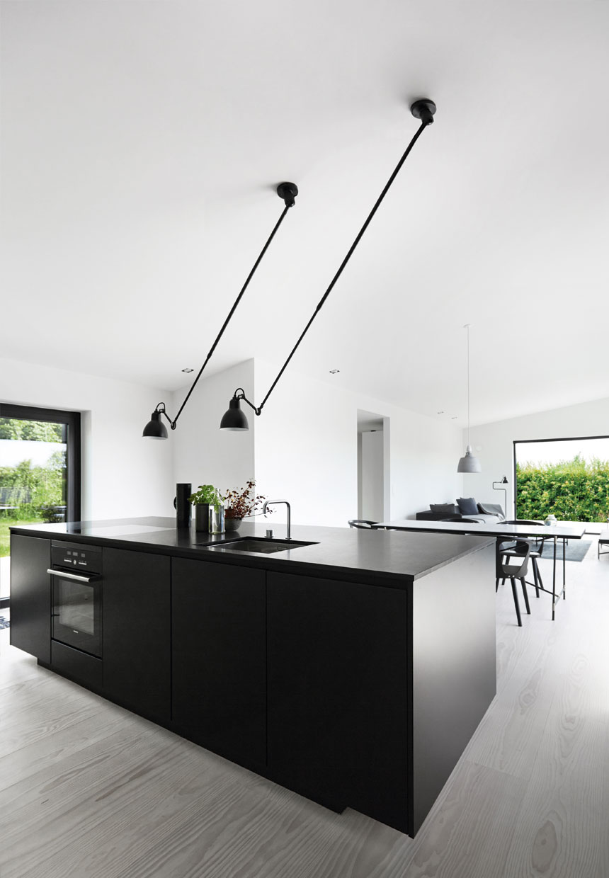 Open Concept Eat In Kitchen With Ceiling Light