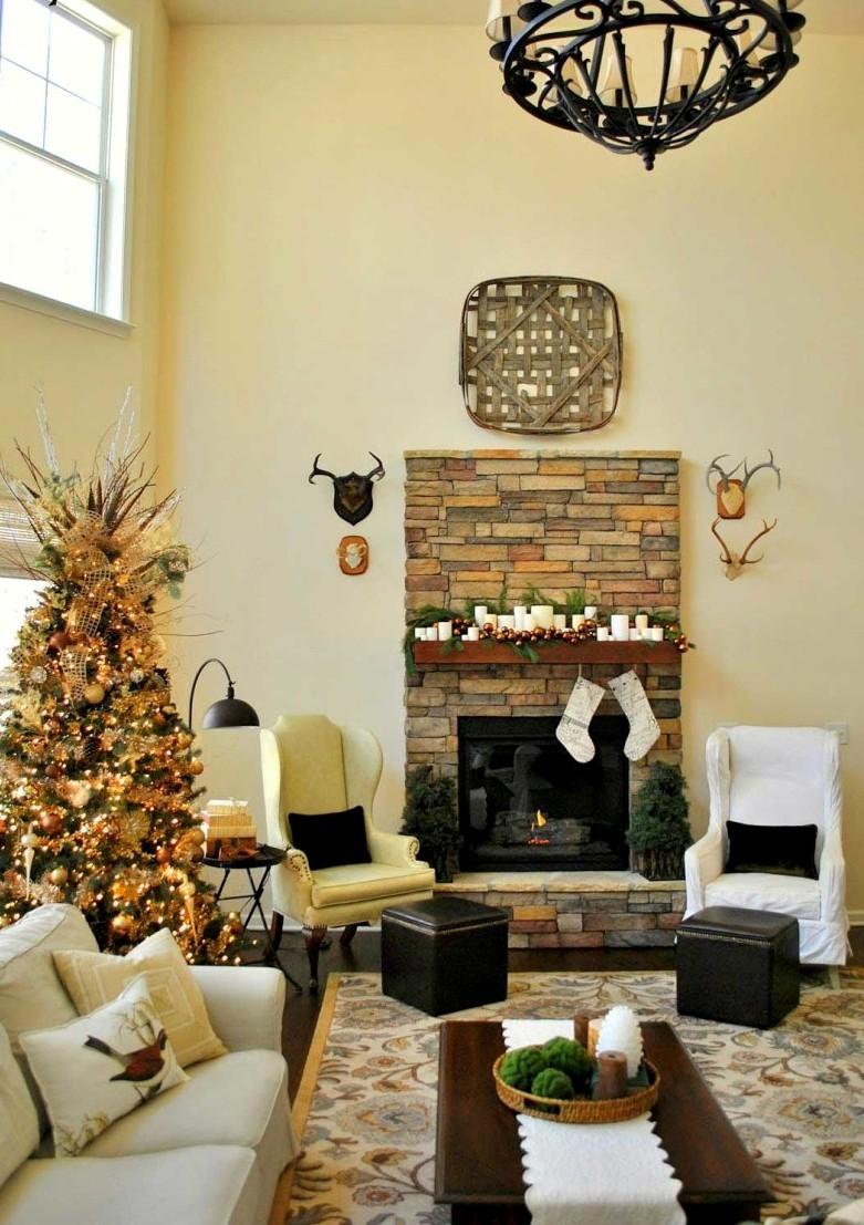 Rustic Christmas Living Room Decorating Ideas