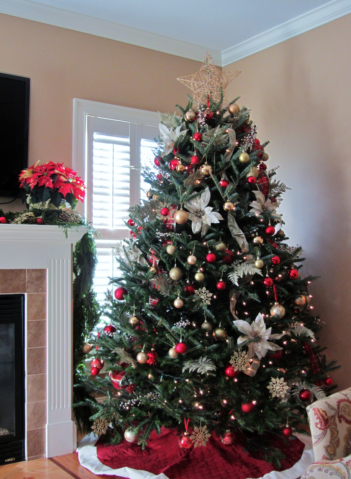 Silver, Gold, and Red Christmas Tree Thewowdecor