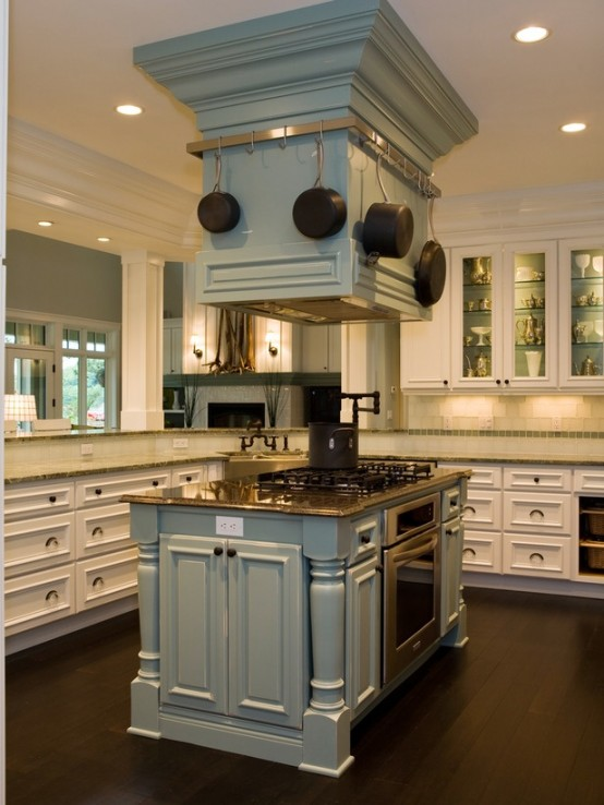 Traditional Kitchen With Unique Kitchen Island