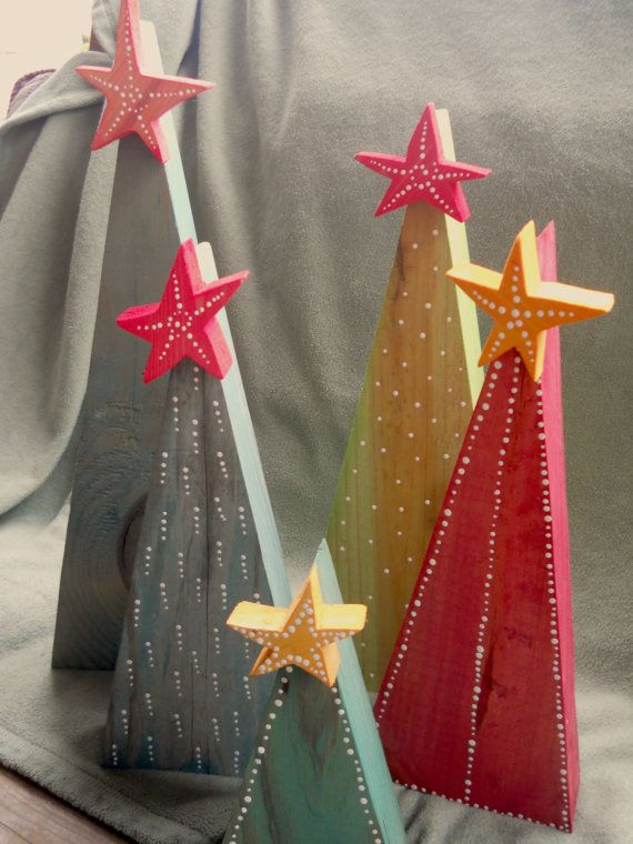 Primitive Rustic Wooden Christmas Trees