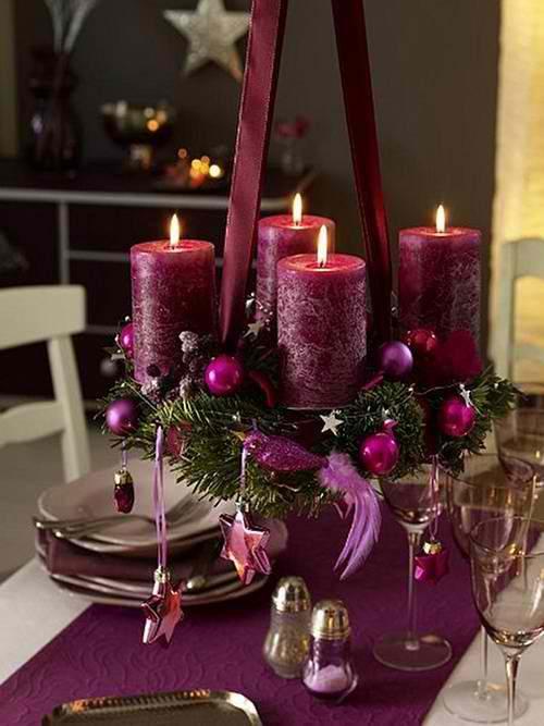 Purple Christmas Candles Centerpiece