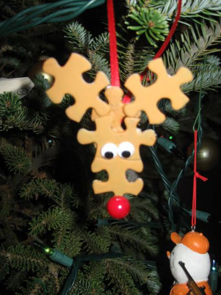 Reindeer Ornament with Puzzle Pieces