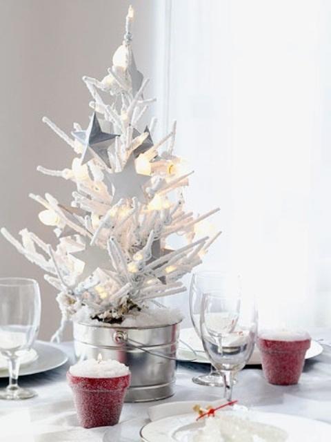 White Christmas Tree Table Centerpieces