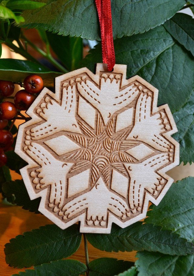 Wooden Snowflake Christmas Decoration