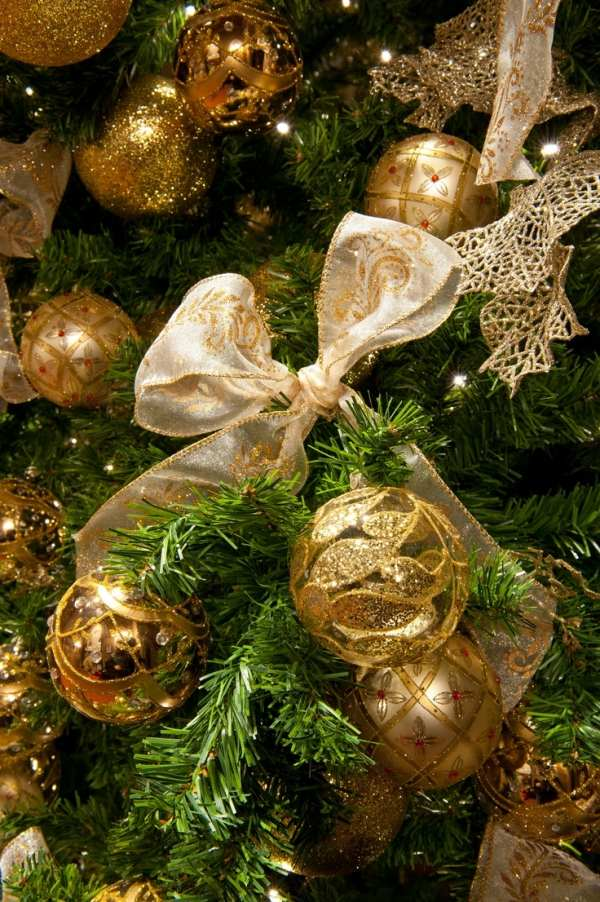 Gold Christmas Tree Decoration Ribbons