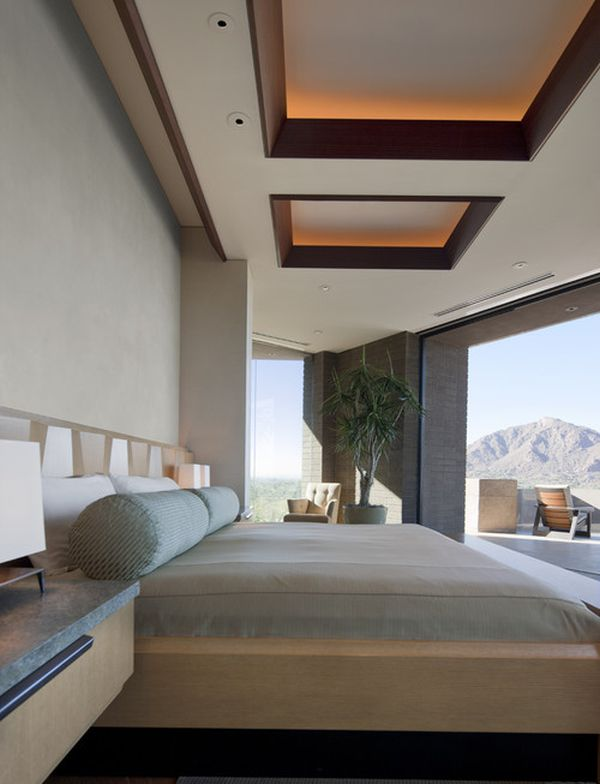 Softly-lit Sapele Mahogany Ceiling Thewowdecor