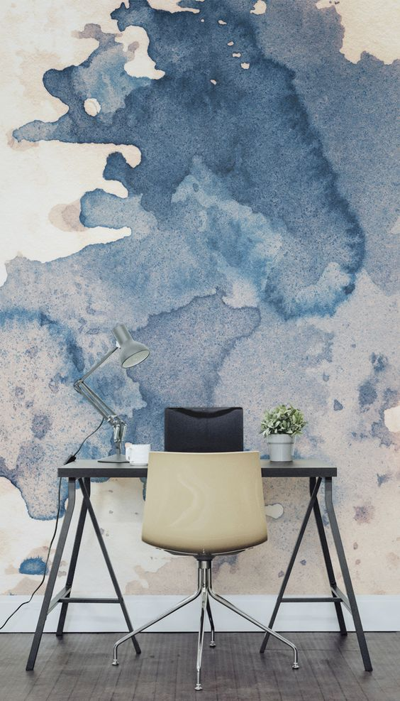 Large Wallpaper in Front of Office Desk Thewowdecor