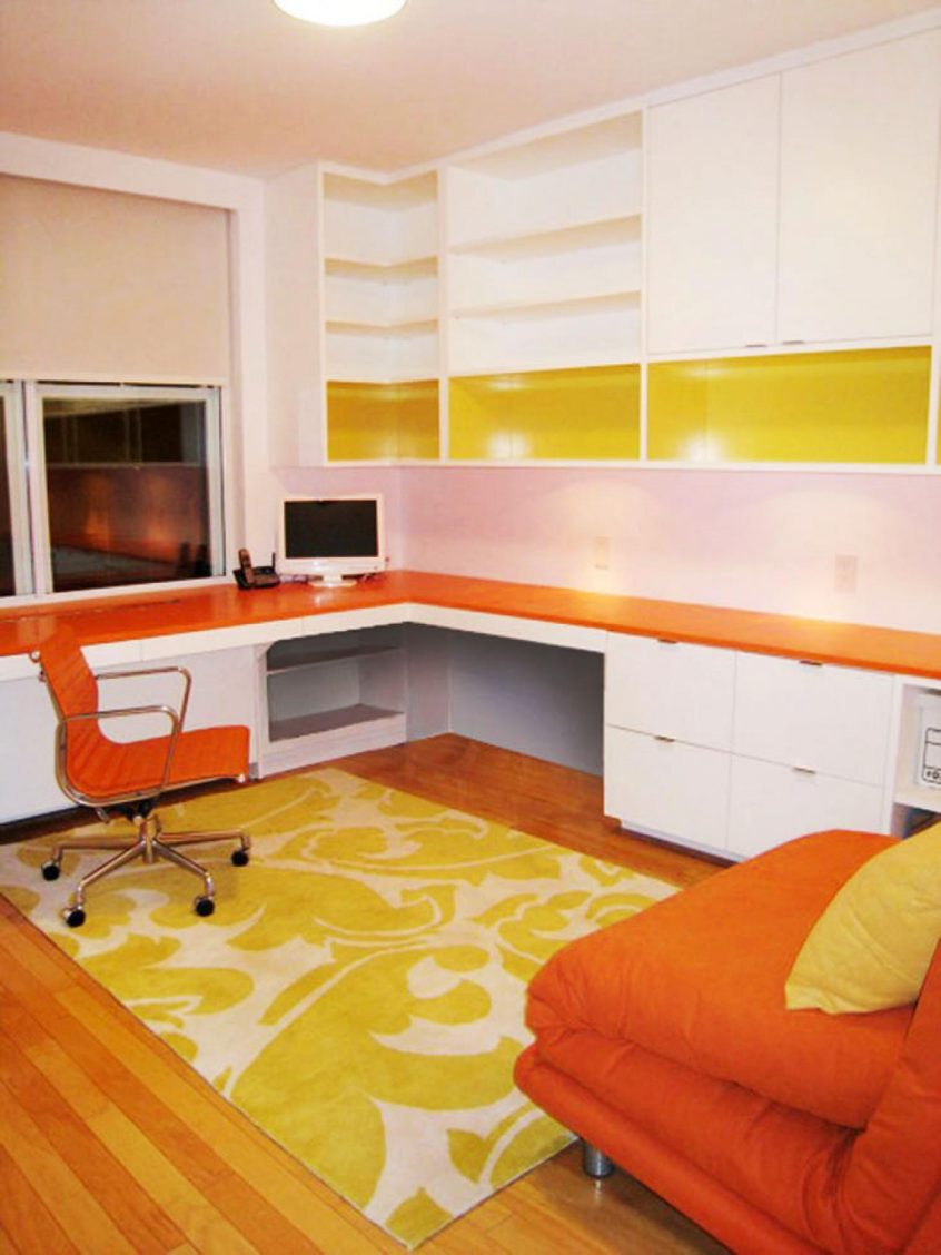White Contemporary Home Office With Orange Furniture Thewowdecor