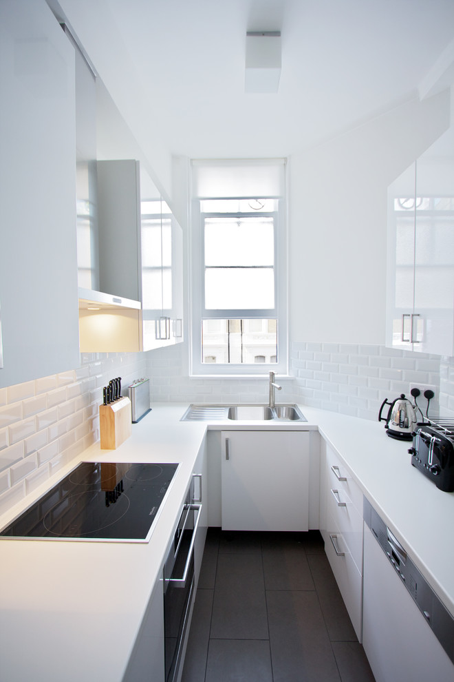 All White Contemporary Laminate Kitchen Countertop