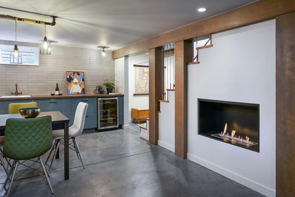 Basement Home Bar Fireplace