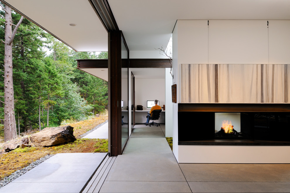 Home Office Fake Fireplace Design