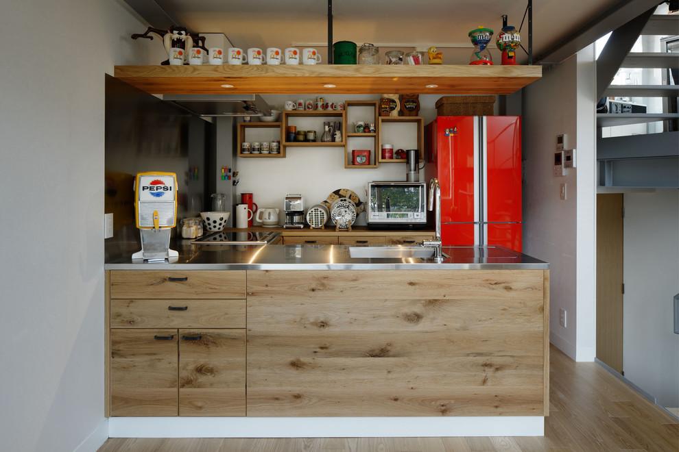 industrial-kitchen-red-fridge