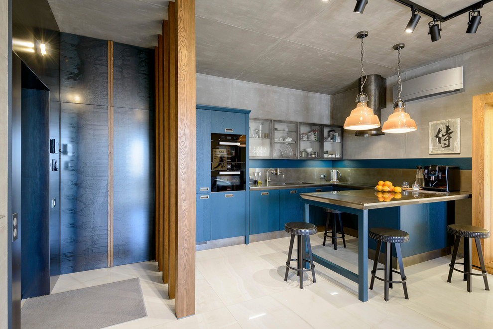 industrial-kitchen-with-blue-paintted-cabinet