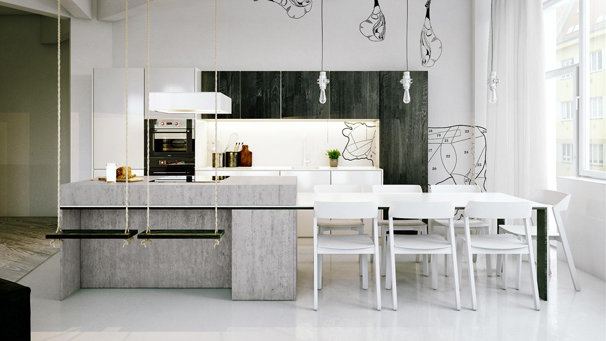white-dining-chairs-kitchen-pendant-lighting
