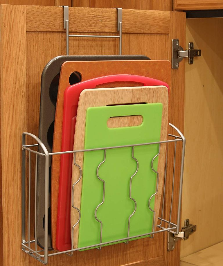 Keep your cutting boards in magazine holders