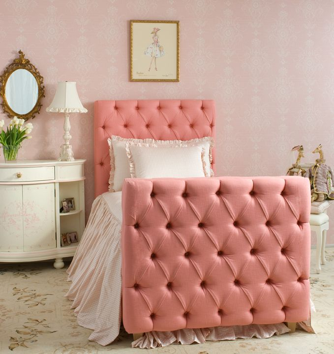 Toddler Bed with Soft Tufted Headboard