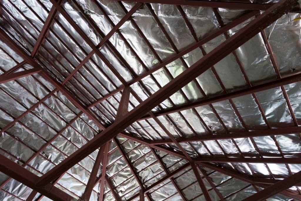 roof with steel beam and silver foil insulation heat on ceiling roof house