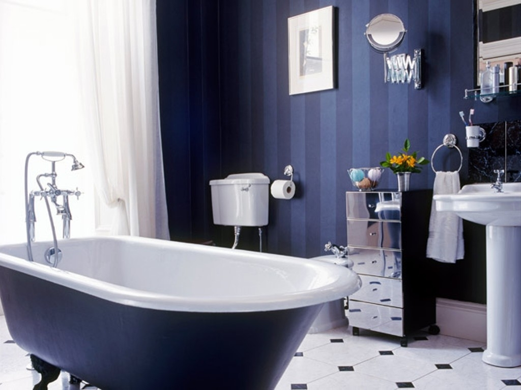 Blue Bathroom Decor Dark Blue Tile Bathroom 1429 Xtianlies
