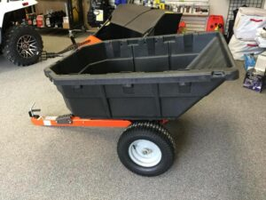 Is Dump Cart Easy or Difficult to Use on Steep, Curvy, Narrow Terrain with Lawn Tractor?