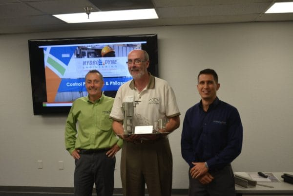Representative receiving Sales Shark Award