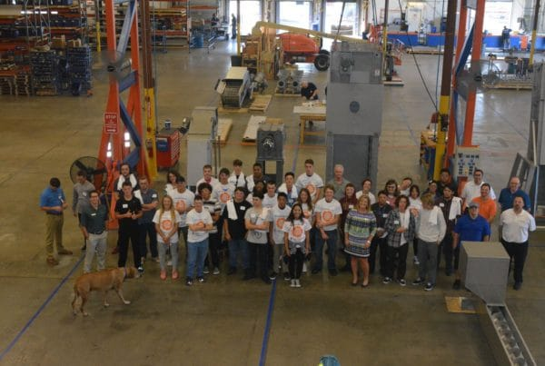 group of student touring Hydro-Dyne facility