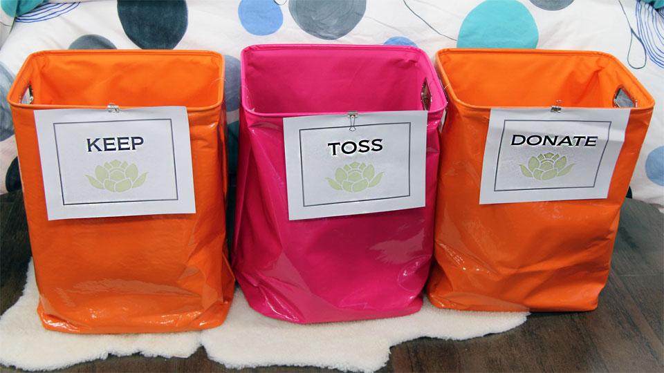 sorting bins: keep, toss, donate